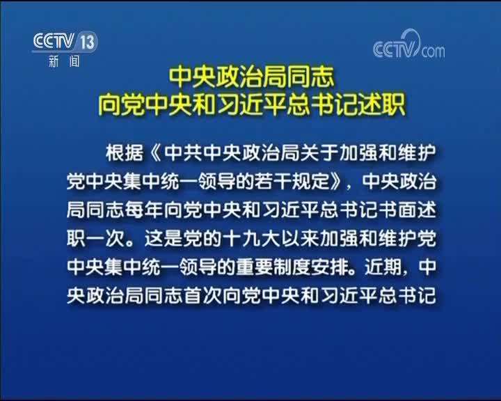 [视频]中央政治局同志向党中央和习近平总书记述职