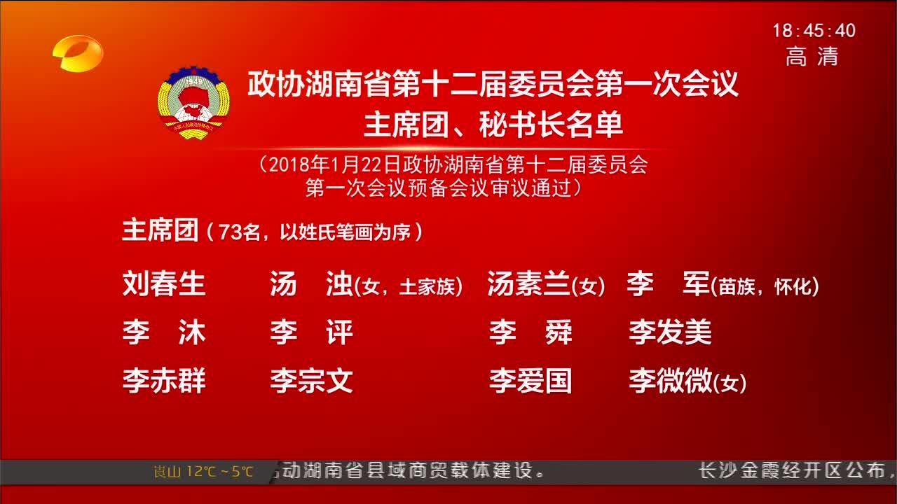 [奋斗吧 新湖南]政协湖南省第十二届委员会第一次会议主席团、秘书长名单