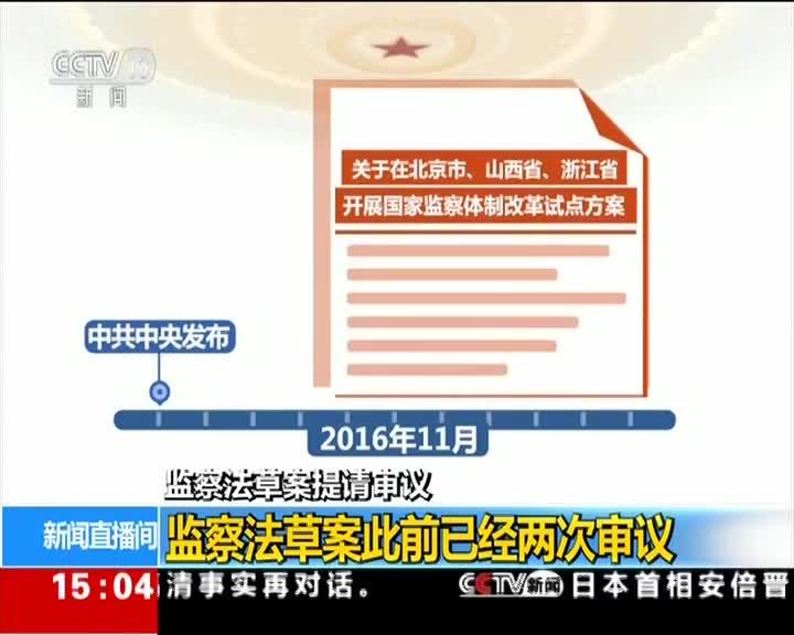 [视频]监察法草案提请审议 监察法草案此前已经两次审议