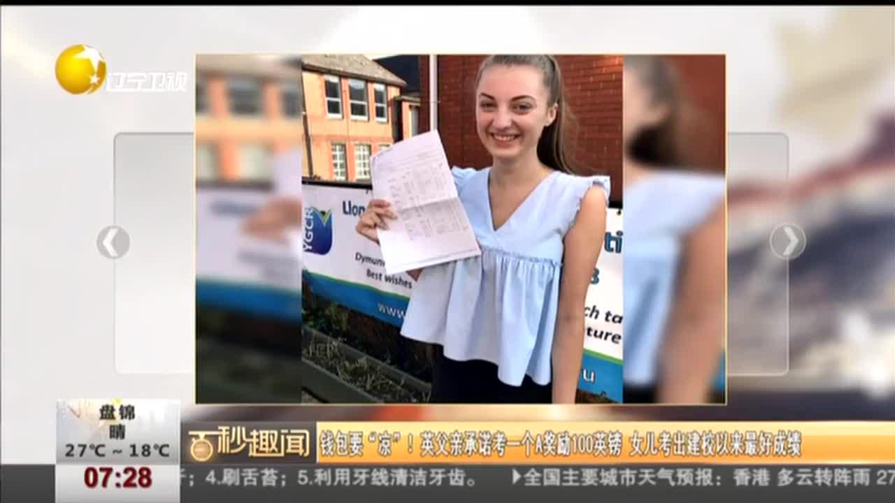 [视频]英父亲承诺一个A奖励100英镑 女儿考出建校最好成绩