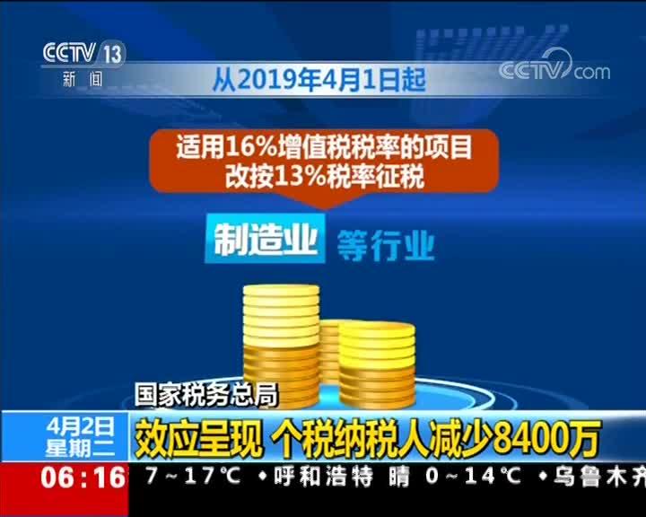 [视频]国家税务总局:效应呈现 个税纳税人减少8400万