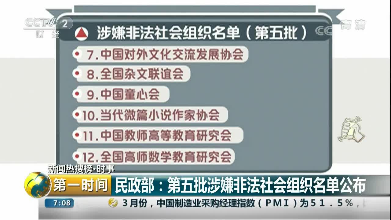 [视频]民政部:第五批涉嫌非法社会组织名单公布