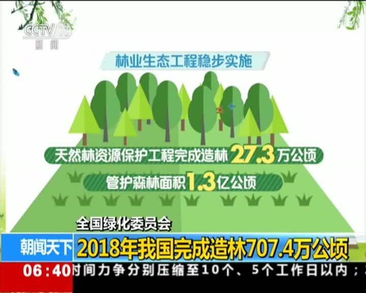 [视频]全国绿化委员会:2018年我国完成造林707.4万公顷
