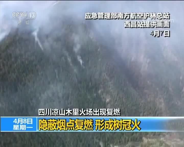 [视频]四川凉山木里火场出现复燃 隐蔽烟点复燃 形成树冠火