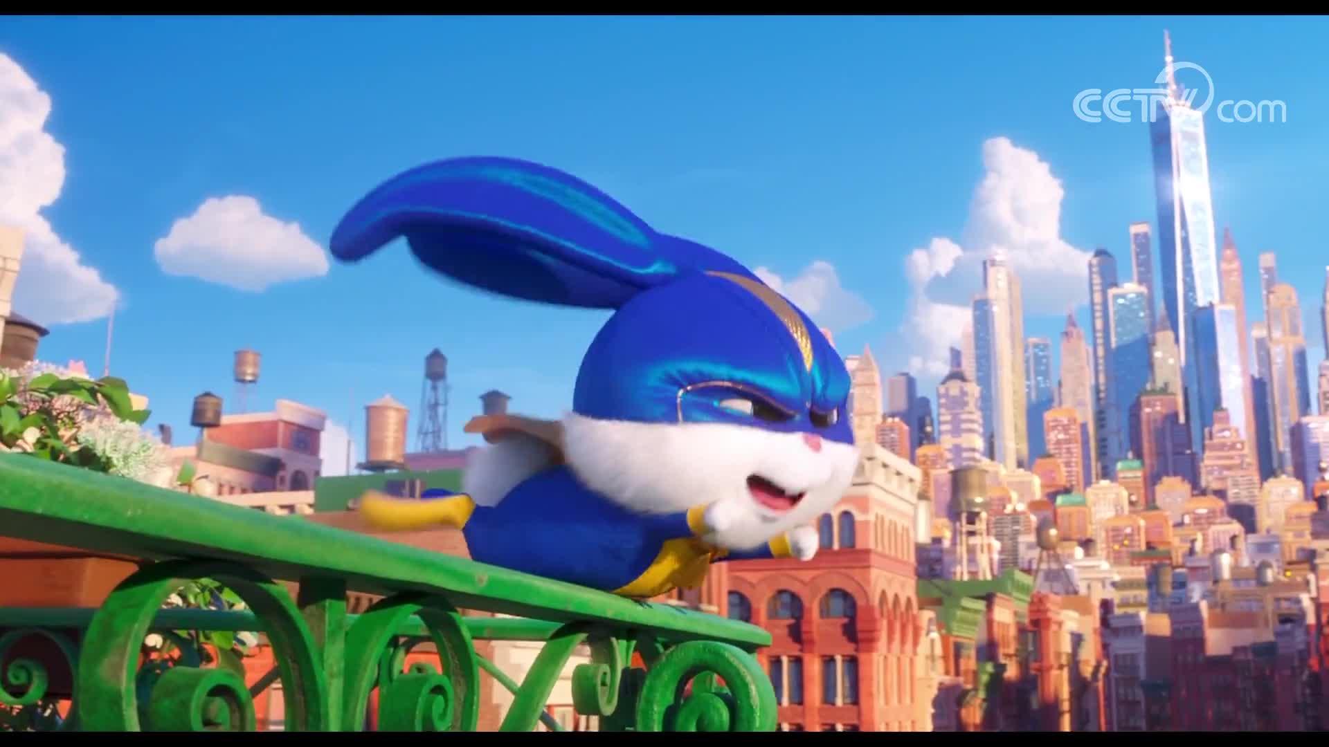 """[视频]《爱宠大机密2》获小白回归 变身超级英雄再展""""兔老大""""风采"""