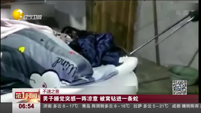 [视频]男子睡觉突感一阵凉意 被窝钻进一条蛇