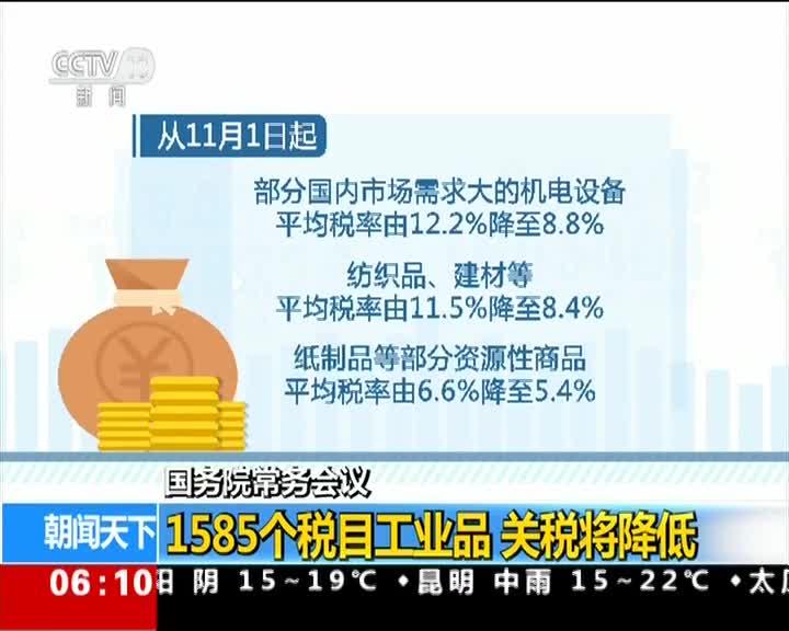 [视频]国务院常务会议 1585个税目工业品 关税将降低
