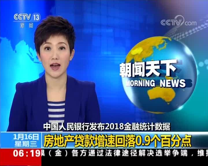 [视频]中国人民银行发布2018金融统计数据 房地产贷款增速回落0.9个百分点