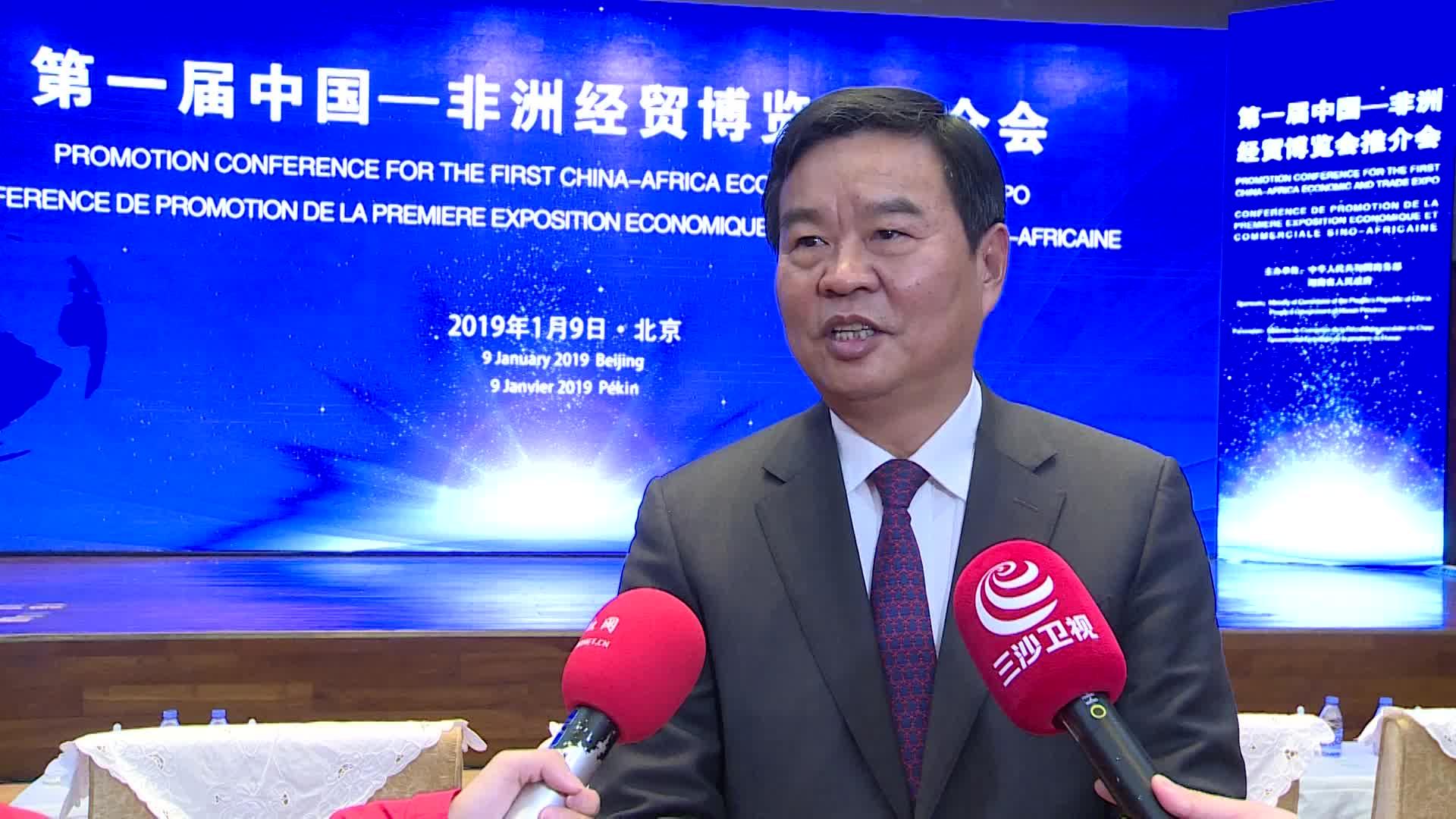 何报翔副省长在第一届中非经贸博览会推介会现场接受红网专访