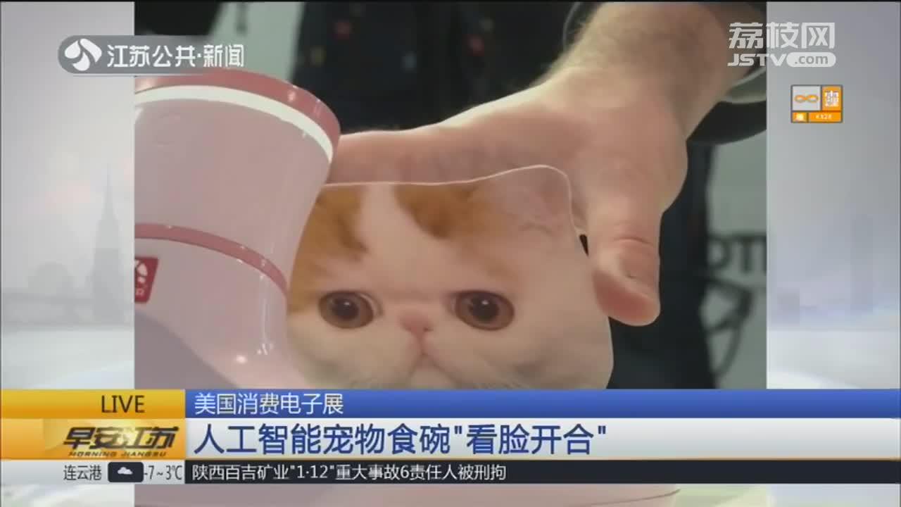 """[视频]美国消费电子展 人工智能宠物食碗""""看脸开合"""""""