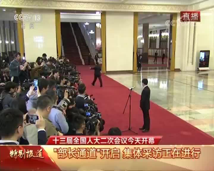 """[十三届全国人大二次会议开幕会]""""部长通道"""" 英国路透社记者向商务部部长钟山提问"""