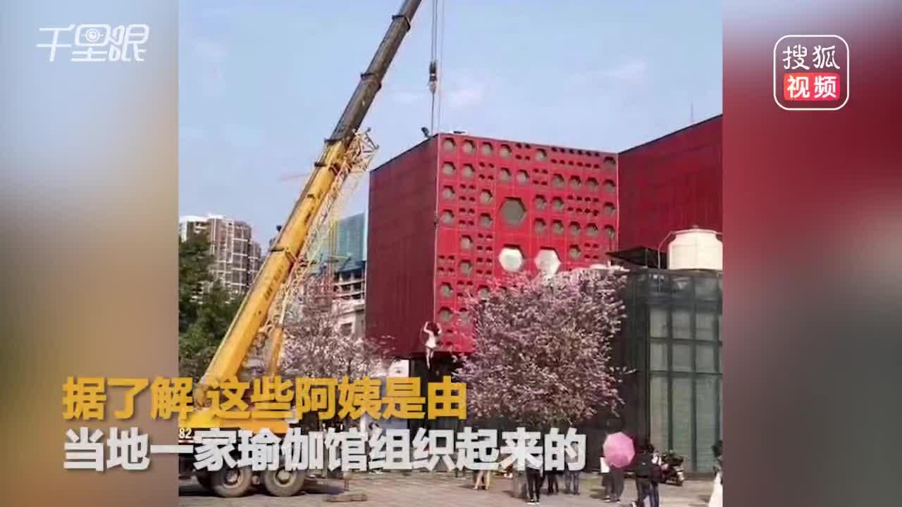[视频]拍照新方式!硬核大妈被吊车吊起与紫荆花合影