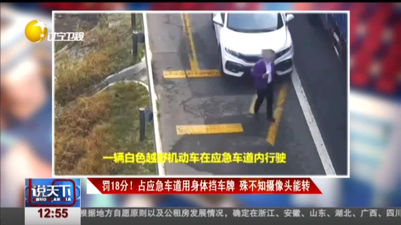 [视频]罚18分!占应急车道用身体挡车牌 殊不知摄像头能转