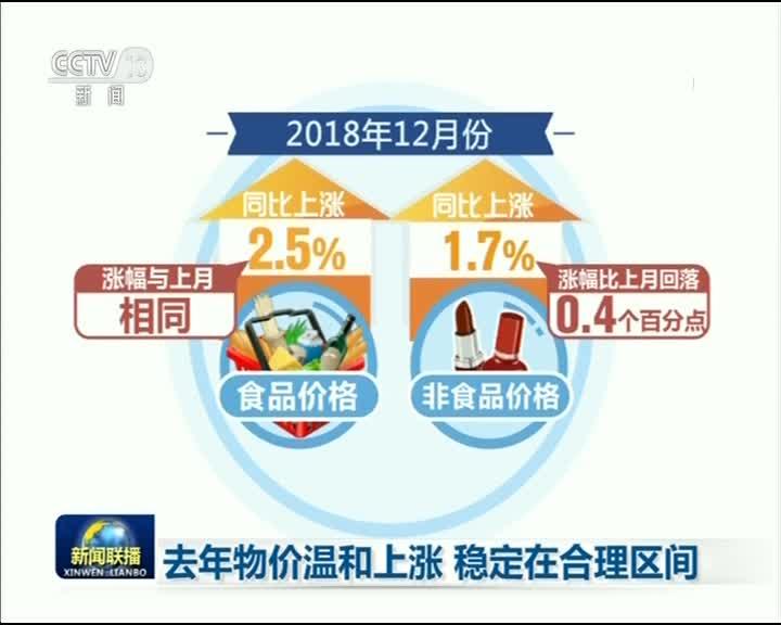 [视频]去年物价温和上涨 稳定在合理区间