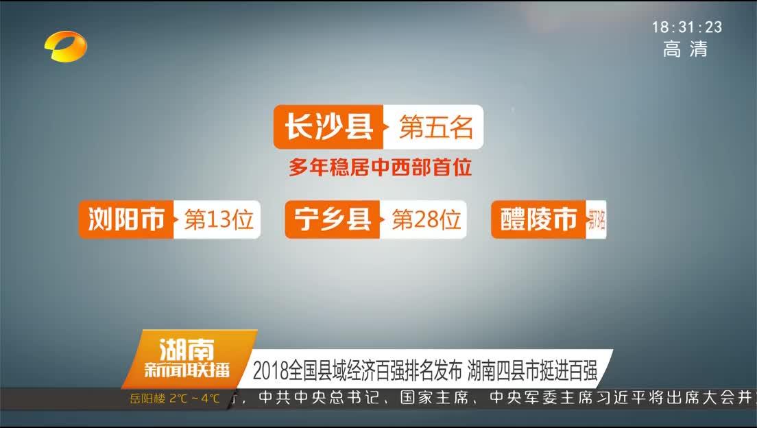 2018全国县域经济百强排名发布 湖南四县市挺进百强