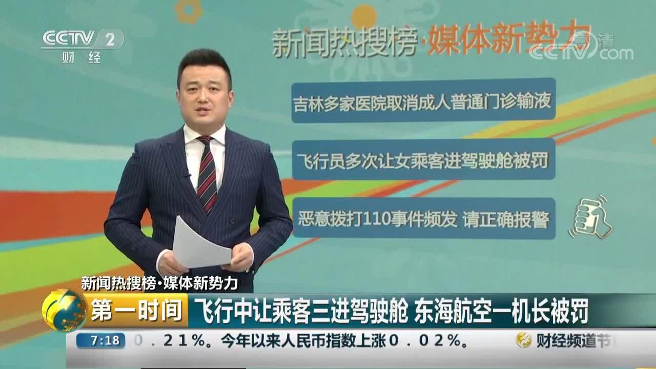 [视频]行中让乘客三进驾驶舱 东海航空一机长被罚