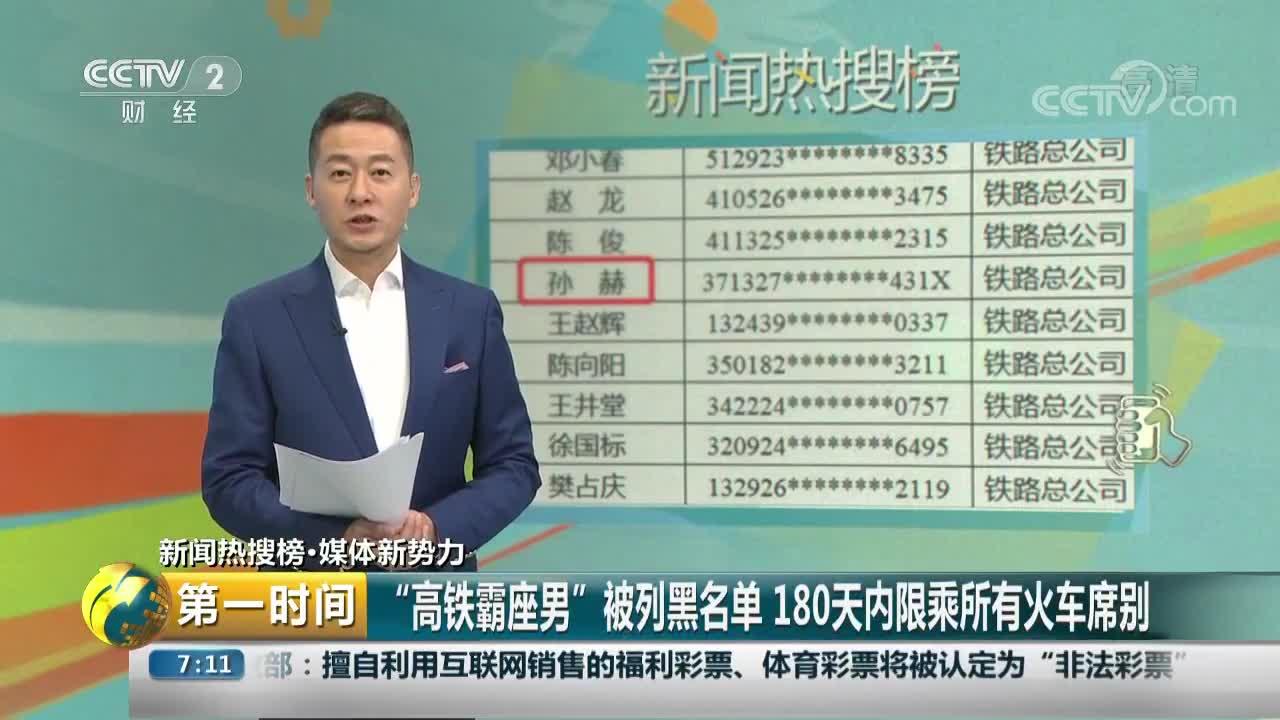 """[视频]""""高铁霸座男""""被列黑名单 180天内限乘所有火车席别"""