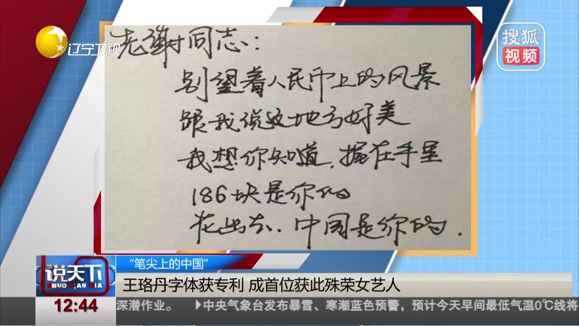 [视频]王珞丹字体获专利 成首位获此殊荣女艺人
