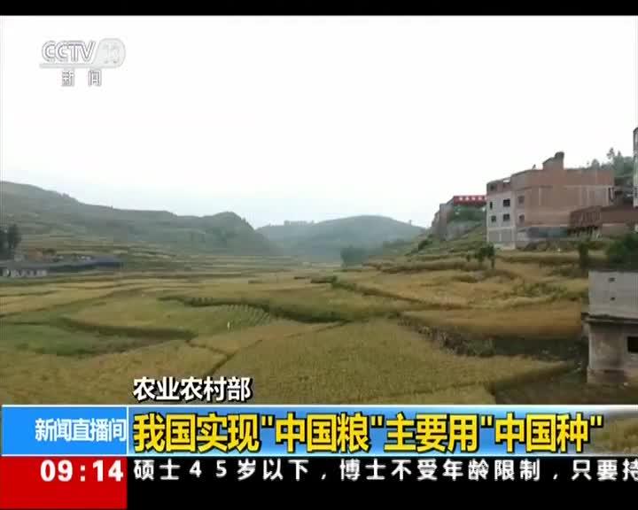 """[视频]农业农村部:我国实现""""中国粮""""主要用""""中国种"""""""