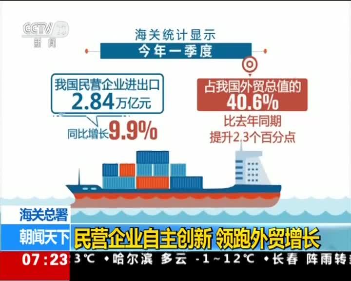 [视频]海关总署:民营企业自主创新 领跑外贸增长