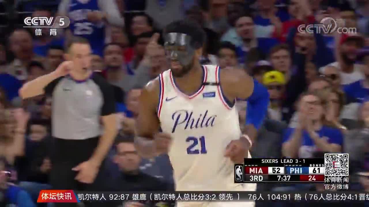 [视频]轻取热队 76人晋级NBA东部季后赛第二轮
