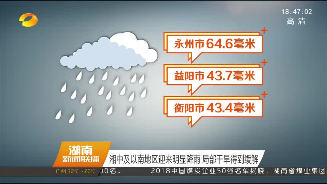 湘中及以南地区迎来明显降雨 局部干旱得到缓解