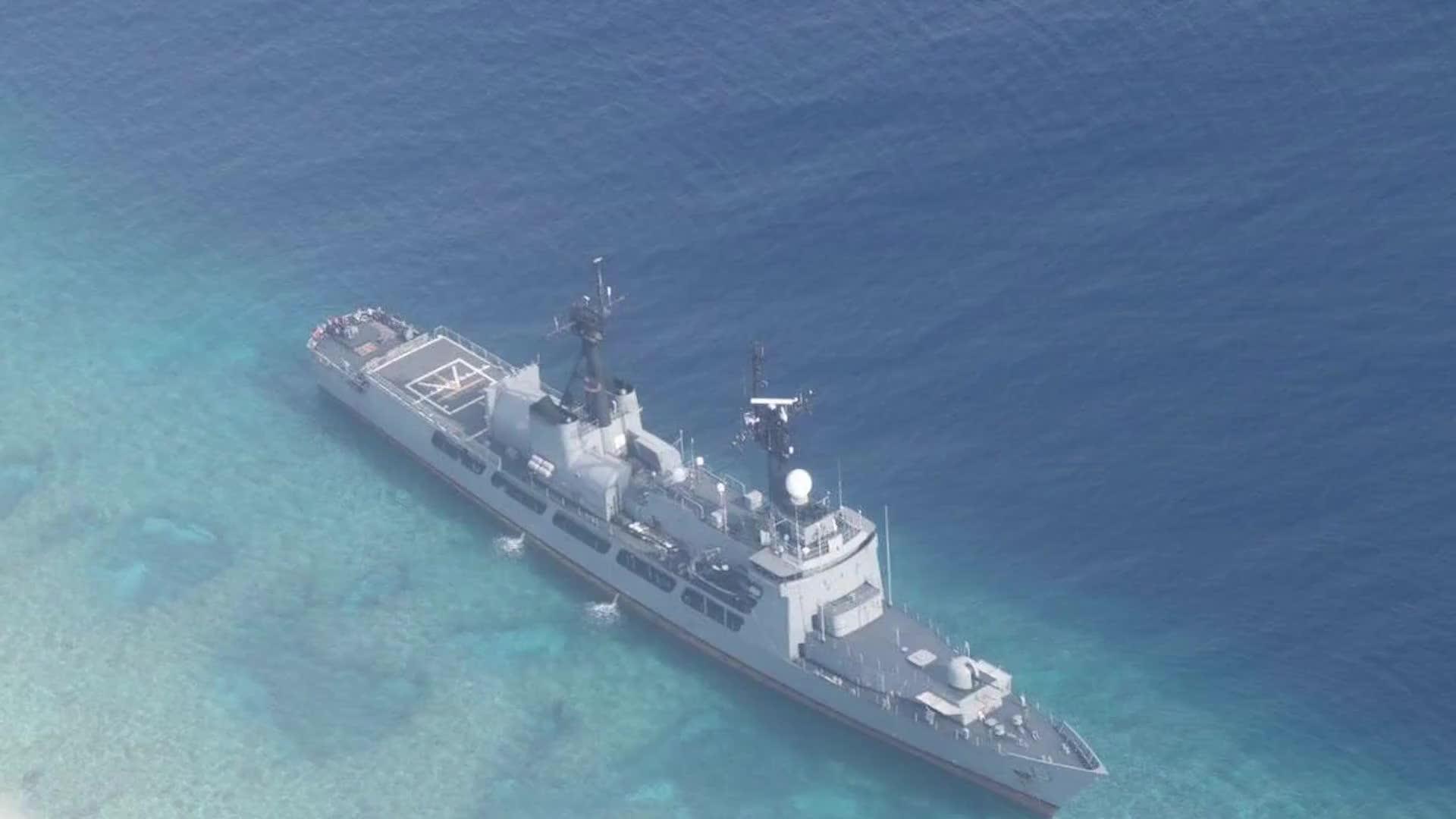 [视频]紧急!菲律宾军舰搁浅中国南海岛礁 中国海警船已抵达现场