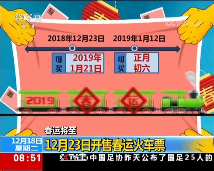 [视频]春运将至 12月23日开售春运火车票