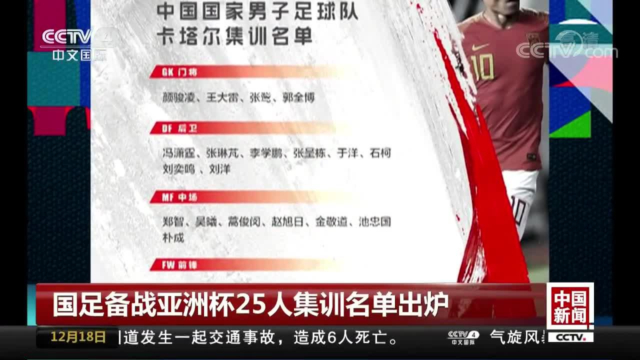 [视频]国足备战亚洲杯25人集训名单出炉