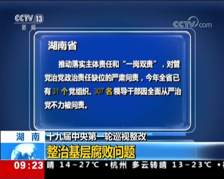 [视频]十九届中央第一轮巡视整改 湖南 整治基层腐败问题