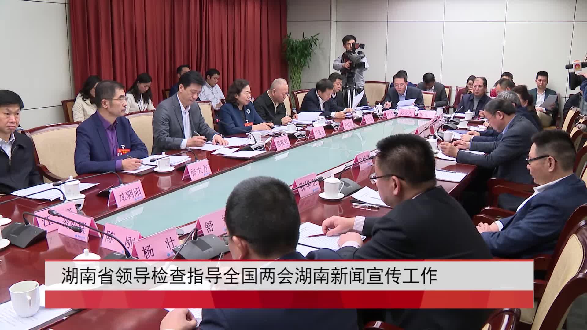 湖南省领导检查指导全国两会湖南新闻宣传工作