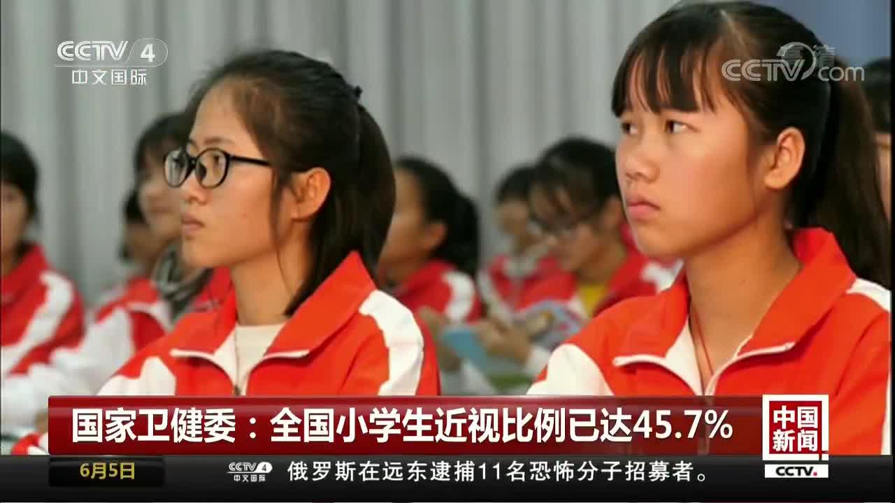 [视频]国家卫健委:全国小学生近视比例已达45.7%