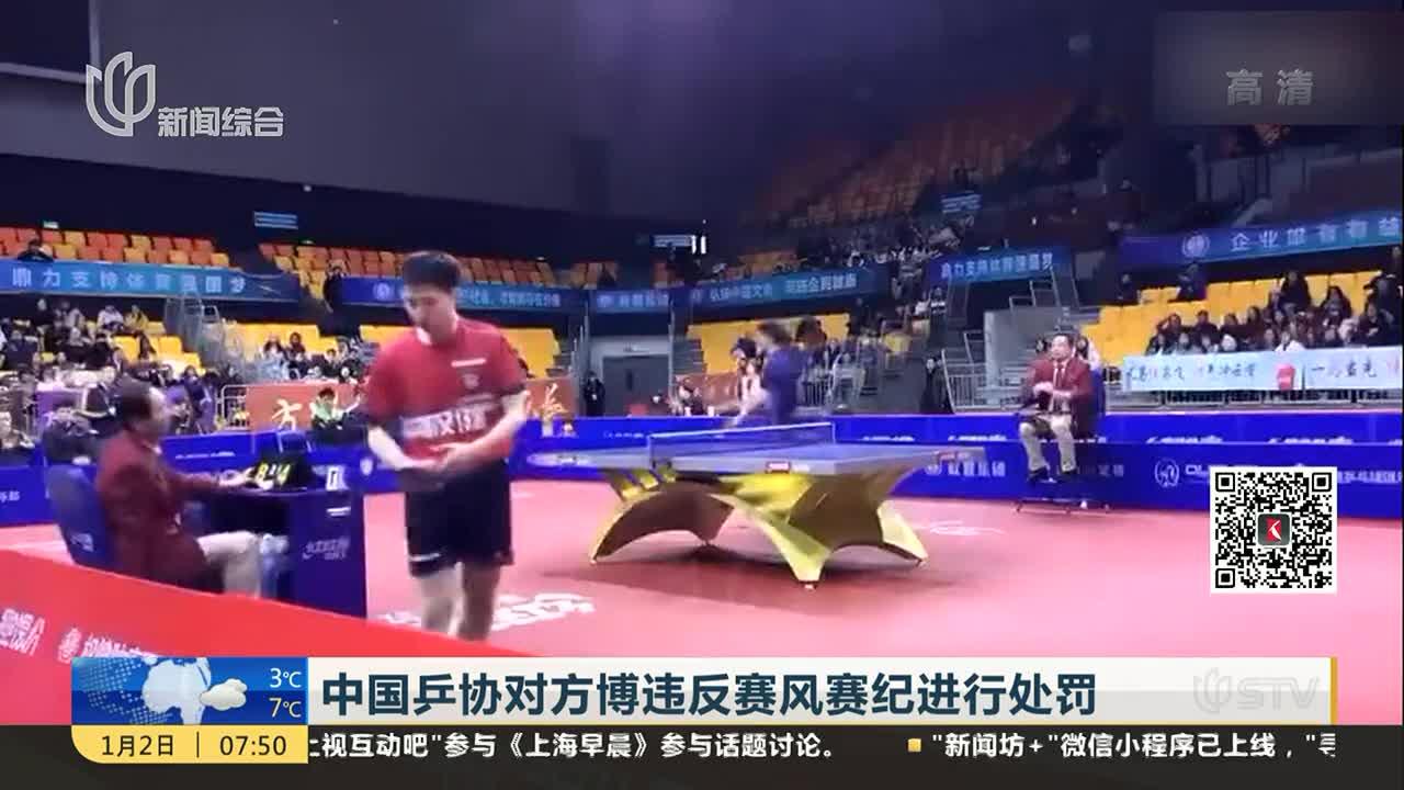 [视频]中国乒协对方博违反赛风赛纪进行处罚