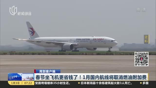 [视频]春节坐飞机更省钱了!1月国内航线将取消燃油附加费