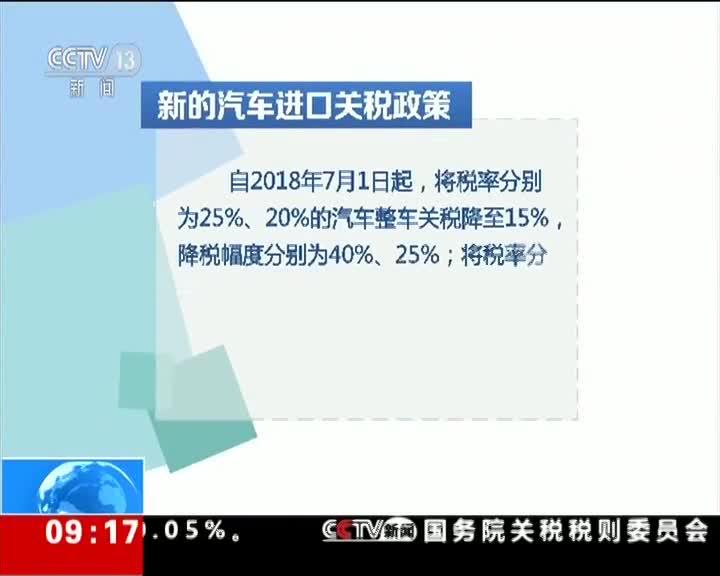 [视频]国务院关税税则委员会:我国将相当幅度降低汽车进口关税