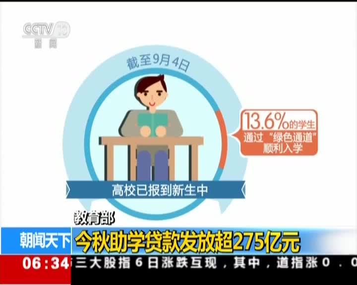 [视频]教育部:今秋助学贷款发放超275亿元