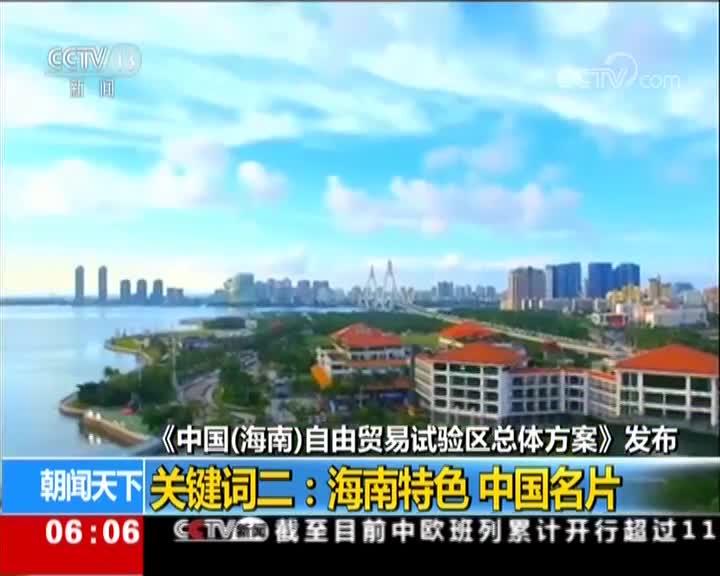 [视频]海南自由贸易试验区总体方案发布