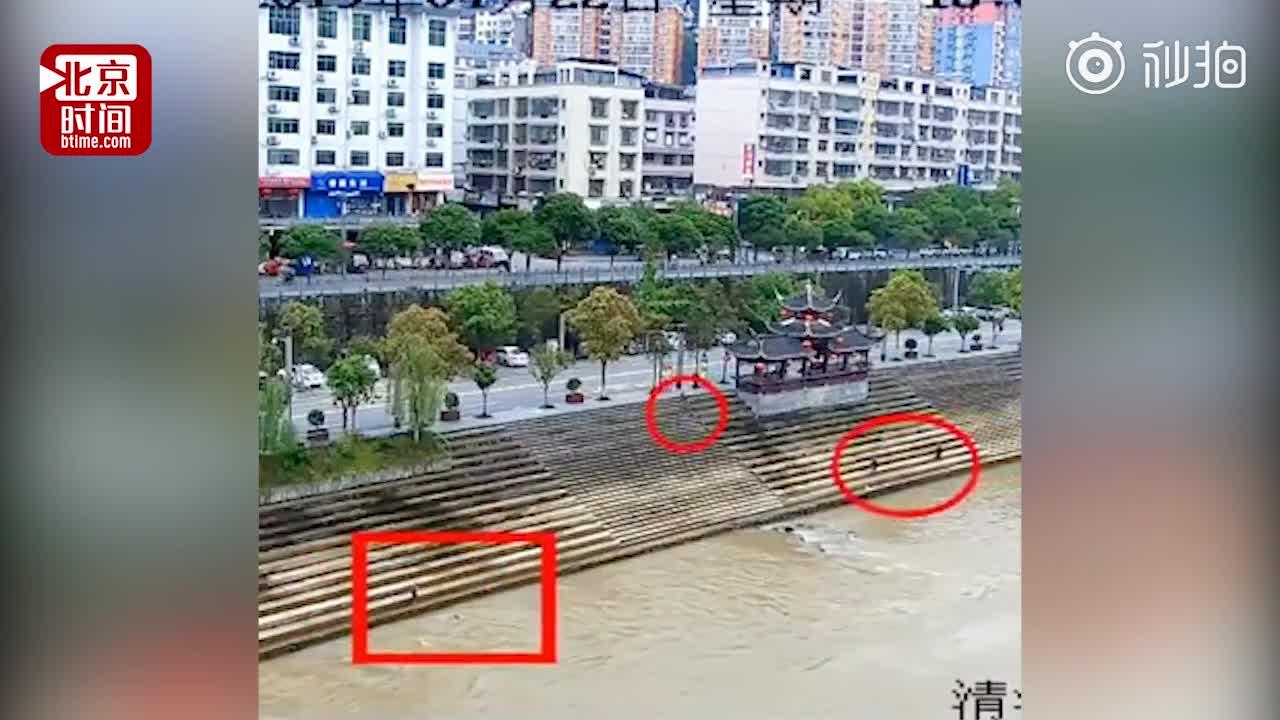 [视频]小学生不慎掉入河中被水冲走 路人百米冲刺跳入河里救起