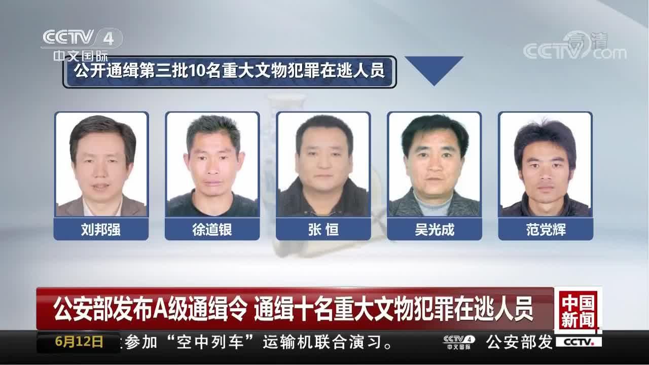 [视频]公安部发布A级通缉令 通缉十名重大文物犯罪在逃人员
