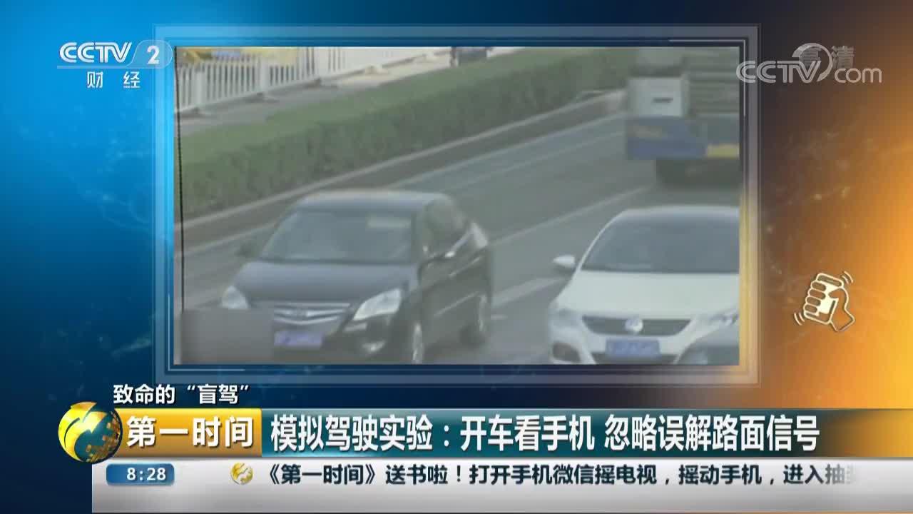 """[视频]致命的""""盲驾"""":开车看手机 忽略误解路面信号"""