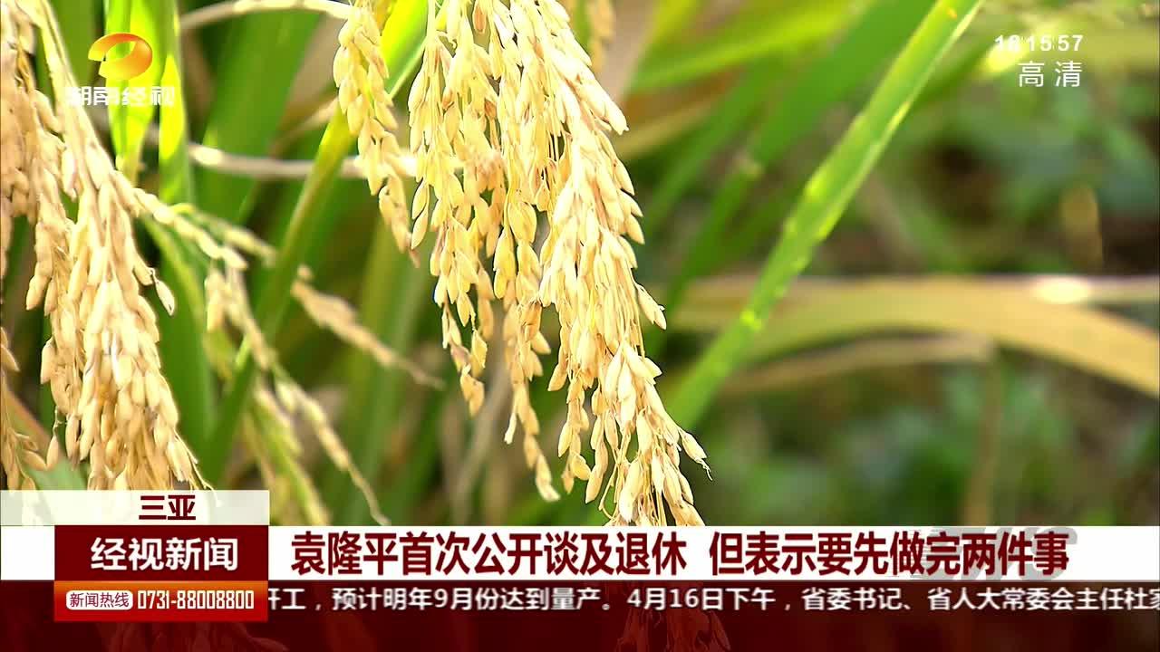 袁隆平首次公开谈及退休 但表示要先做完两件事