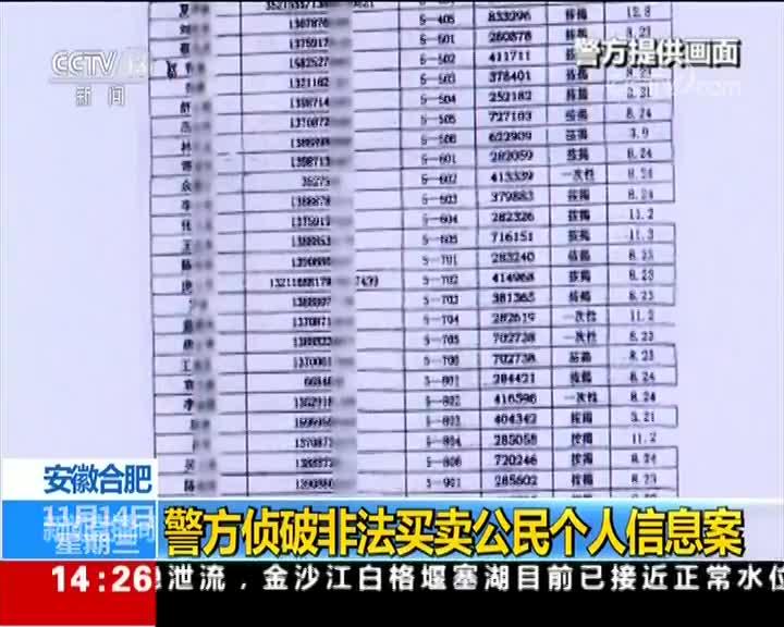 [视频]安徽合肥:警方侦破非法买卖公民个人信息案