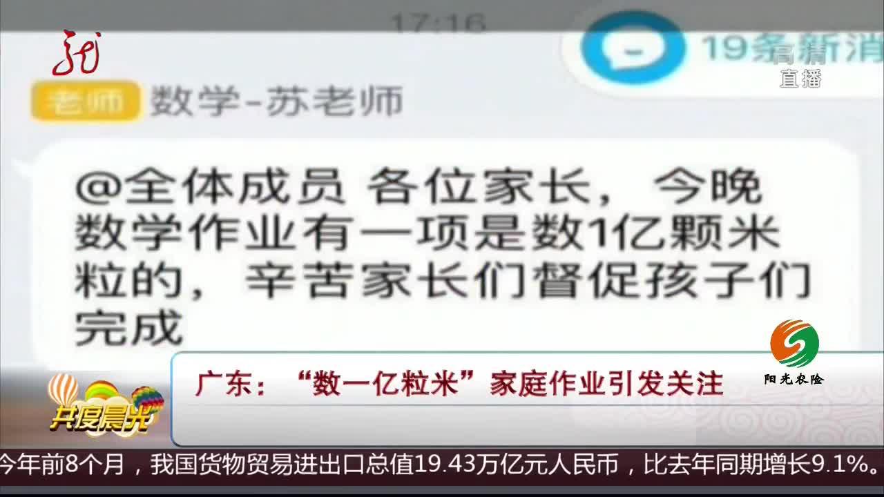 """[视频]广东:""""数一亿粒米""""家庭作业引发关注"""