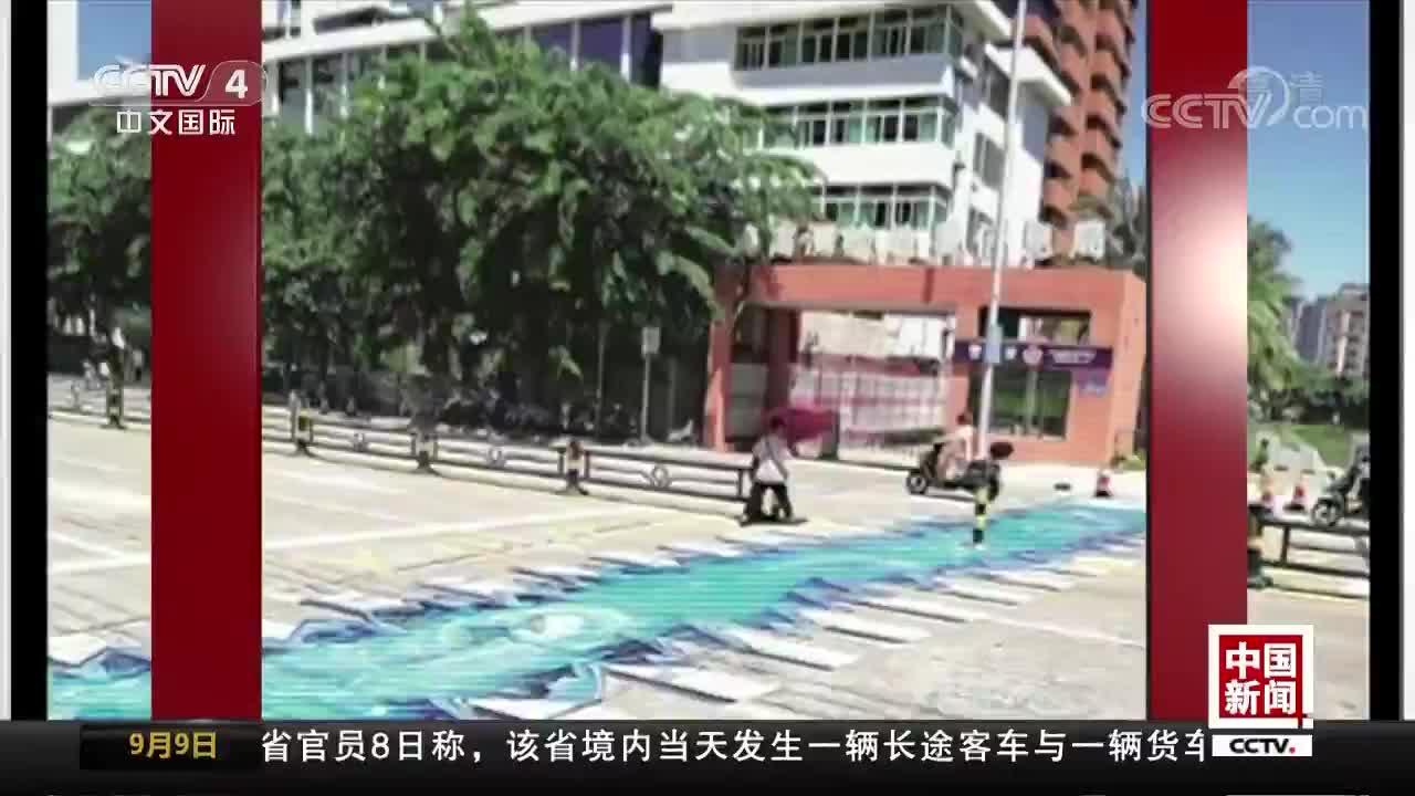 [视频]海南海口:3D斑马线太逼真 添靓还是添乱?