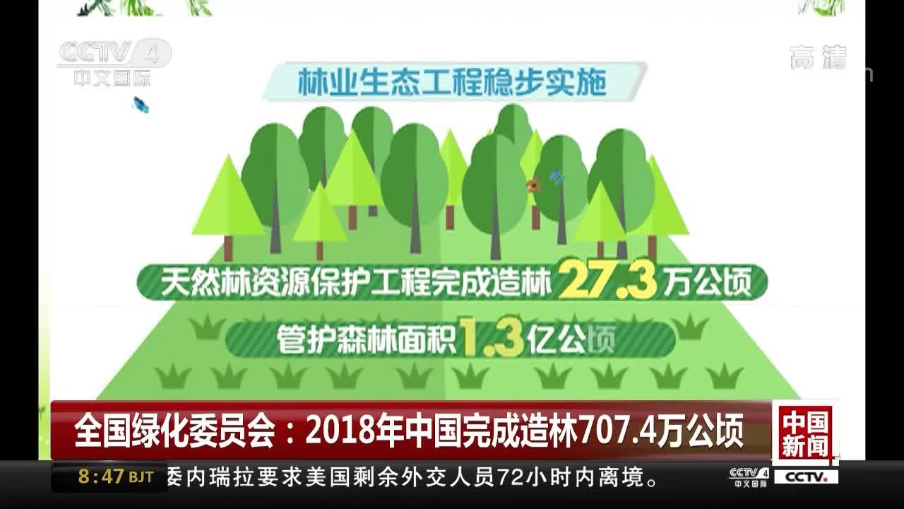 [视频]全国绿化委员会:2018年中国完成造林707.4万公顷