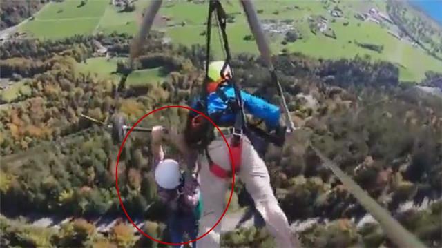 [视频]吓软!男主播玩滑翔翼忘系安全绳 全程徒手抓杆